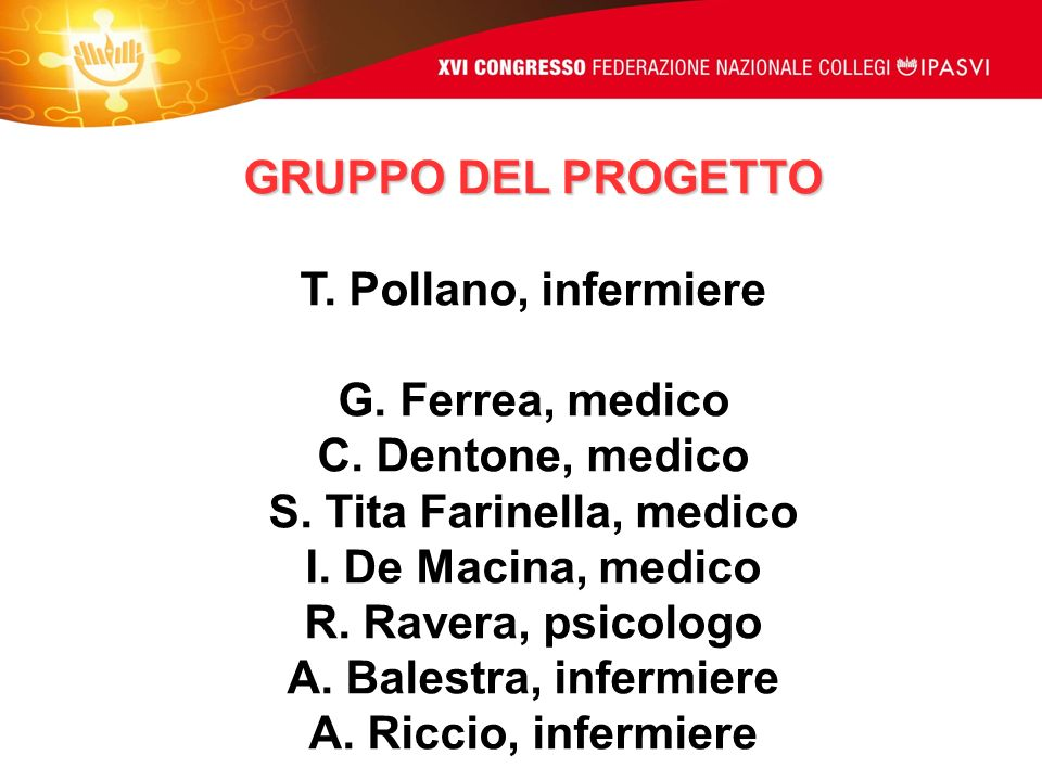 GRUPPO DEL PROGETTO T. Pollano, infermiere G. Ferrea, medico C. Dentone, medico S. Tita Farinella, medico I. De Macina, medico R. Ravera, psicologo A.
