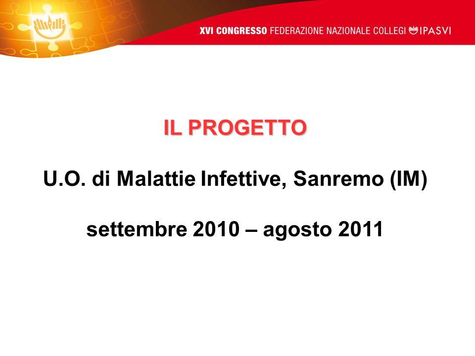 IL PROGETTO U.O. di Malattie Infettive, Sanremo (IM) settembre 2010 – agosto 2011