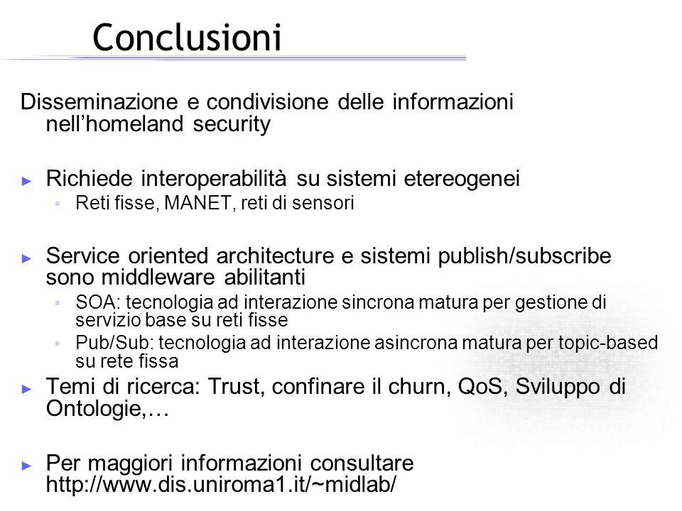 Conclusioni Disseminazione e condivisione delle informazioni nellhomeland security Richiede interoperabilità su sistemi etereogenei Reti fisse, MANET,