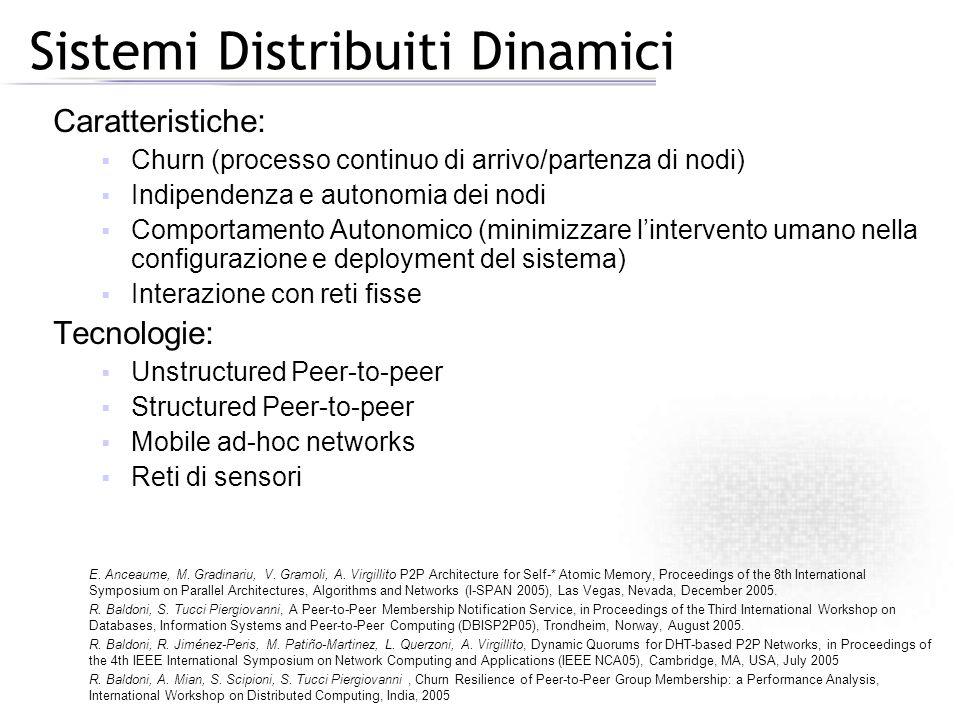 Sistemi Distribuiti Dinamici Caratteristiche: Churn (processo continuo di arrivo/partenza di nodi) Indipendenza e autonomia dei nodi Comportamento Autonomico (minimizzare lintervento umano nella configurazione e deployment del sistema) Interazione con reti fisse Tecnologie: Unstructured Peer-to-peer Structured Peer-to-peer Mobile ad-hoc networks Reti di sensori E.