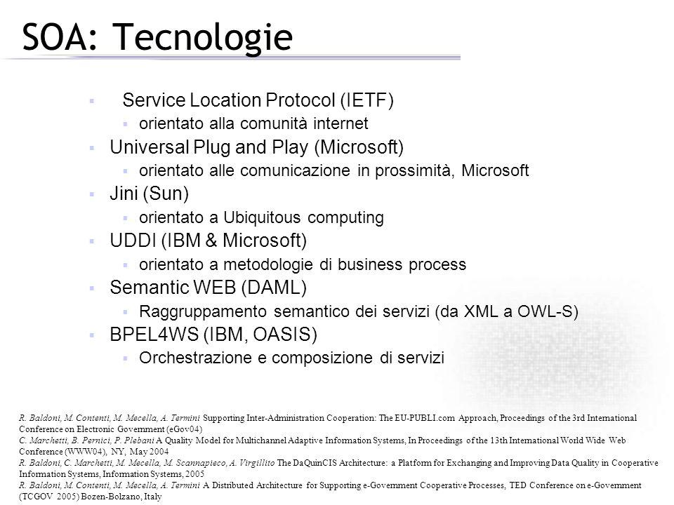 SOA: Tecnologie Service Location Protocol (IETF) orientato alla comunità internet Universal Plug and Play (Microsoft) orientato alle comunicazione in prossimità, Microsoft Jini (Sun) orientato a Ubiquitous computing UDDI (IBM & Microsoft) orientato a metodologie di business process Semantic WEB (DAML) Raggruppamento semantico dei servizi (da XML a OWL-S) BPEL4WS (IBM, OASIS) Orchestrazione e composizione di servizi R.