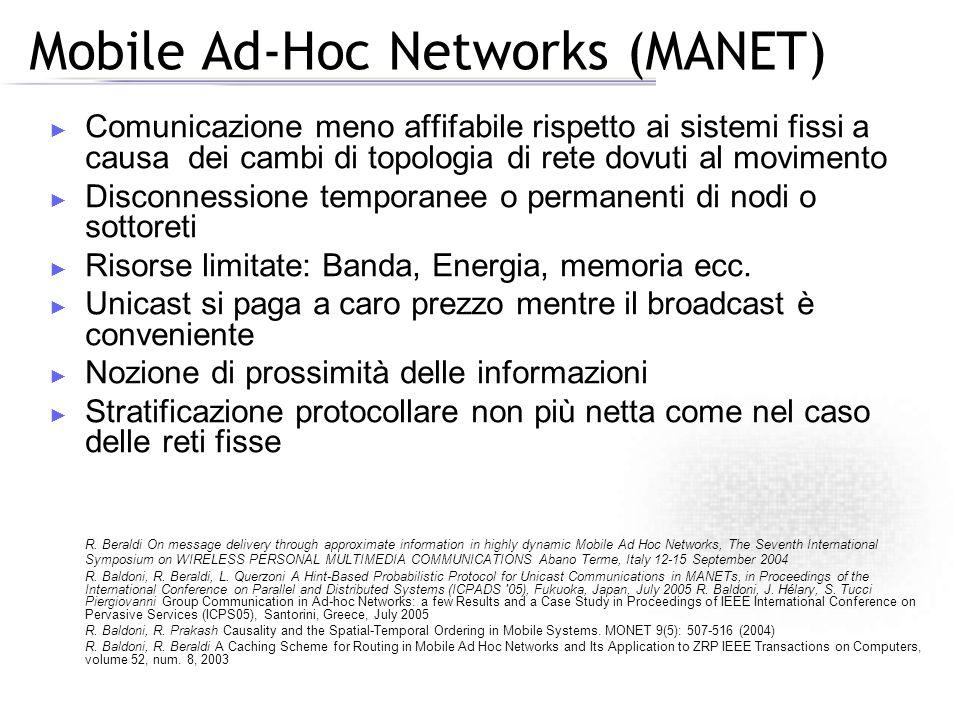 Mobile Ad-Hoc Networks (MANET) Comunicazione meno affifabile rispetto ai sistemi fissi a causa dei cambi di topologia di rete dovuti al movimento Disconnessione temporanee o permanenti di nodi o sottoreti Risorse limitate: Banda, Energia, memoria ecc.