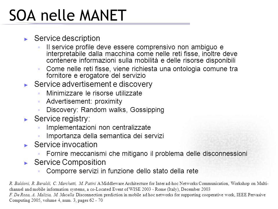 SOA nelle MANET Service description Il service profile deve essere comprensivo non ambiguo e interpretabile dalla macchina come nelle reti fisse, inol