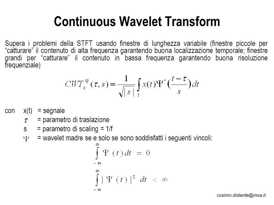 cosimo.distante@inoa.it Continuous Wavelet Transform Supera i problemi della STFT usando finestre di lunghezza variabile (finestre piccole per cattura