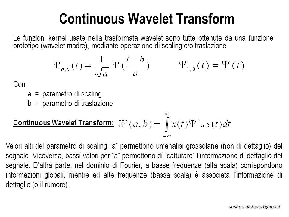 cosimo.distante@inoa.it Continuous Wavelet Transform Le funzioni kernel usate nella trasformata wavelet sono tutte ottenute da una funzione prototipo