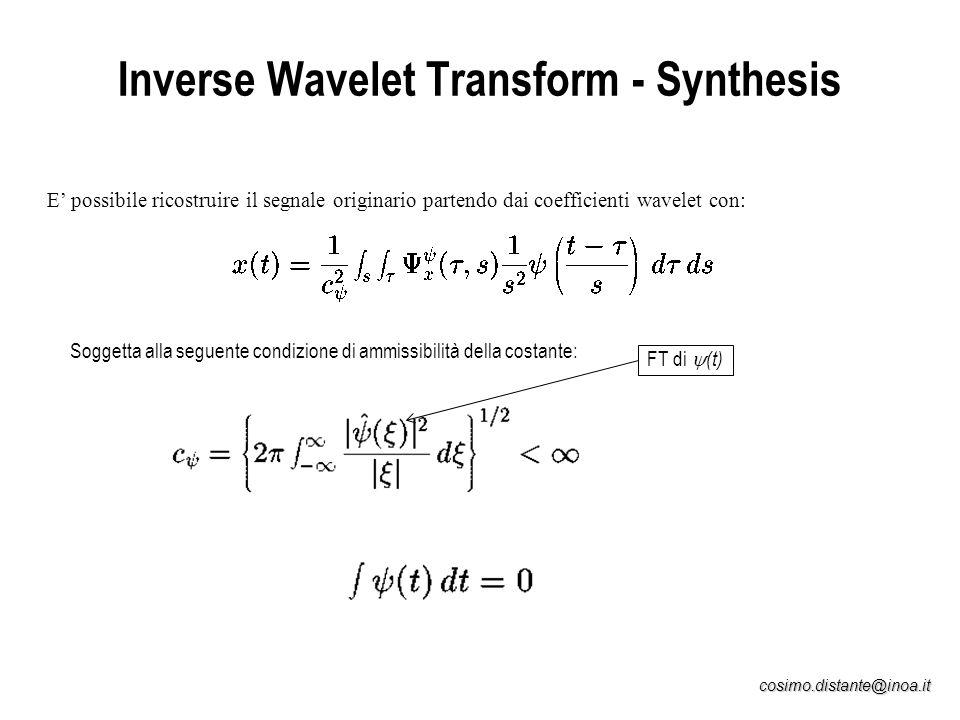 cosimo.distante@inoa.it Inverse Wavelet Transform - Synthesis E possibile ricostruire il segnale originario partendo dai coefficienti wavelet con: Sog