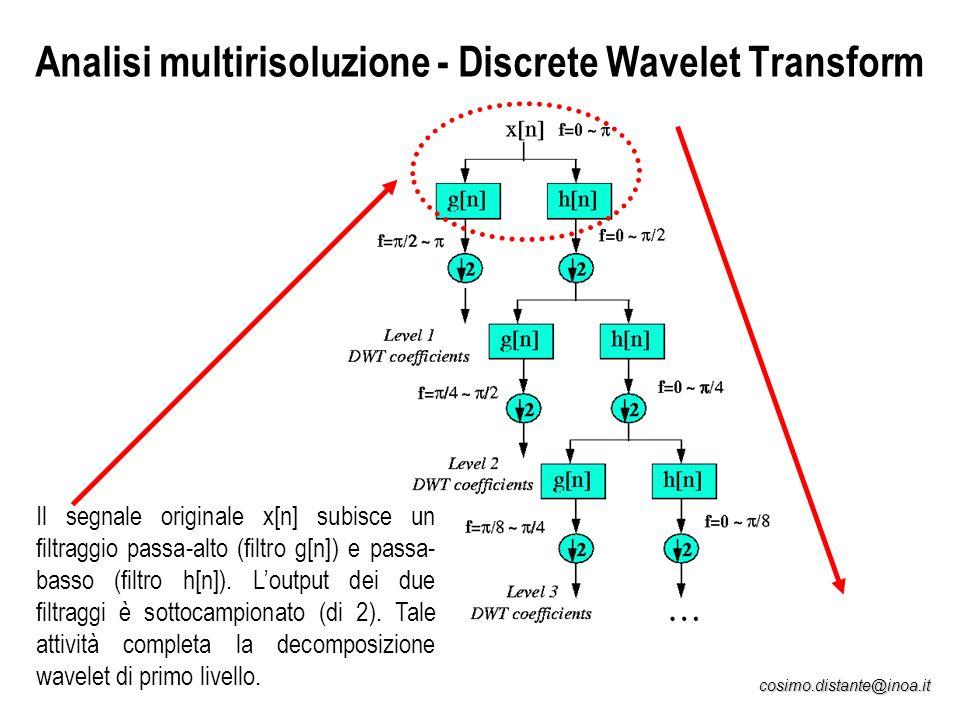 cosimo.distante@inoa.it Analisi multirisoluzione - Discrete Wavelet Transform Il segnale originale x[n] subisce un filtraggio passa-alto (filtro g[n])