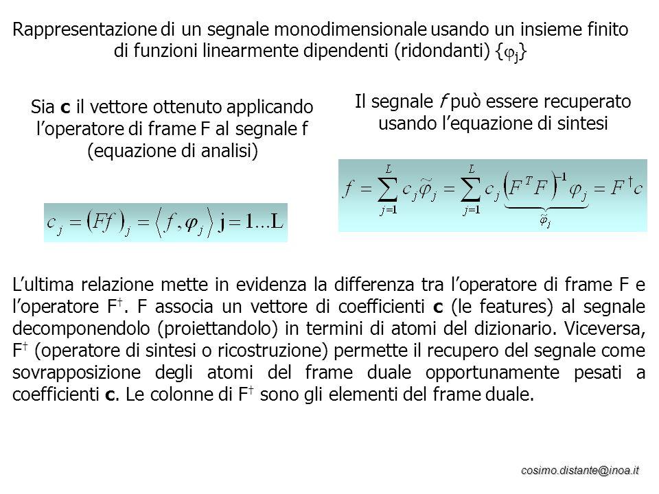 cosimo.distante@inoa.it Rappresentazione di un segnale monodimensionale usando un insieme finito di funzioni linearmente dipendenti (ridondanti) { j }