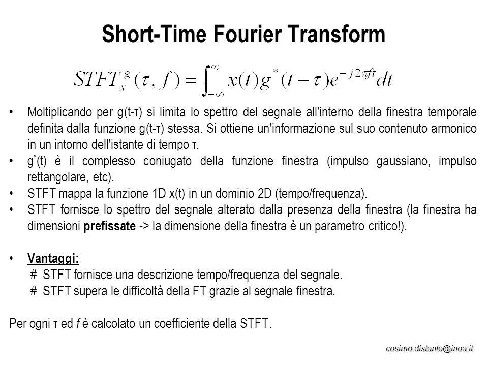 cosimo.distante@inoa.it Short-Time Fourier Transform Moltiplicando per g(t-τ) si limita lo spettro del segnale all'interno della finestra temporale de