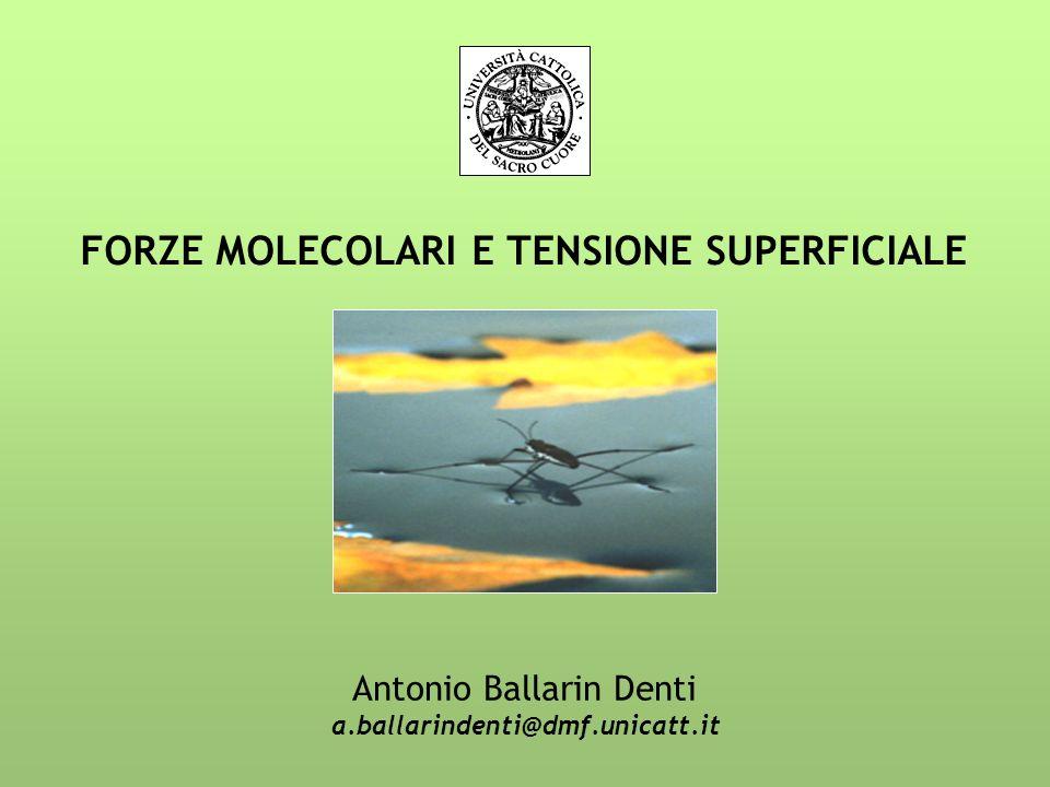 FORZE MOLECOLARI E TENSIONE SUPERFICIALE Antonio Ballarin Denti a.ballarindenti@dmf.unicatt.it