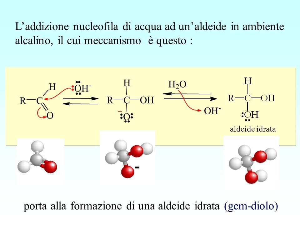 RC H O OH - RC H O OH H 2 O OH - aldeide idrata Laddizione nucleofila di acqua ad unaldeide in ambiente alcalino, il cui meccanismo è questo : porta a