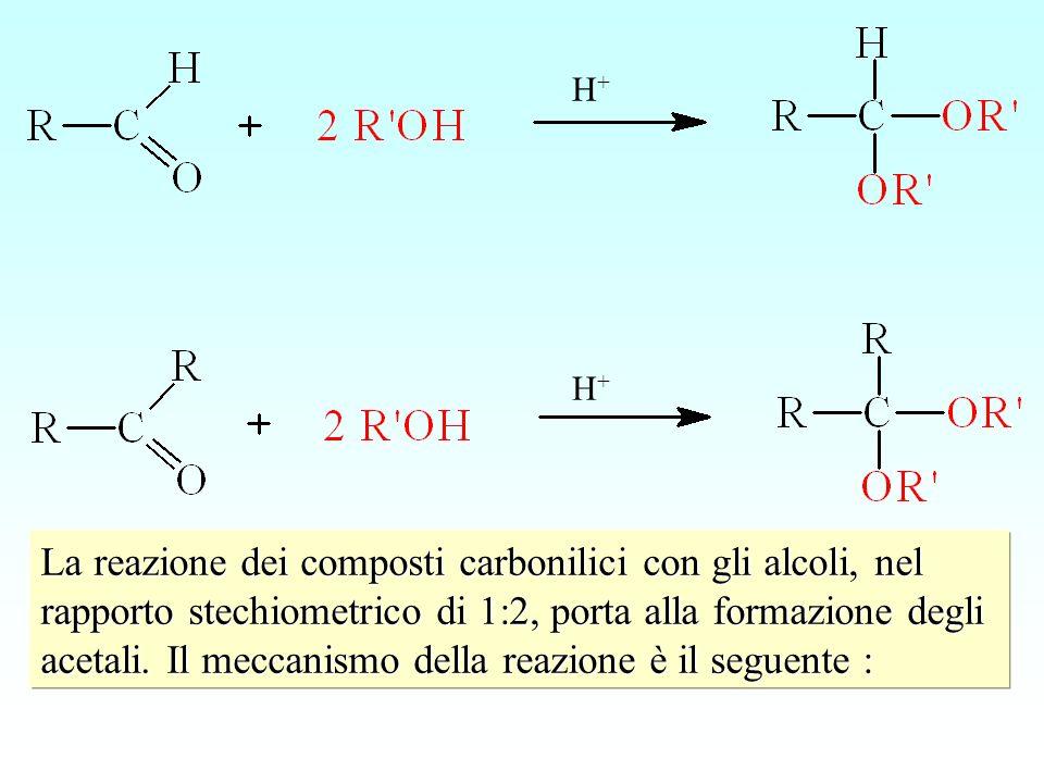 H+H+ H+H+ La reazione dei composti carbonilici con gli alcoli, nel rapporto stechiometrico di 1:2, porta alla formazione degli acetali. Il meccanismo