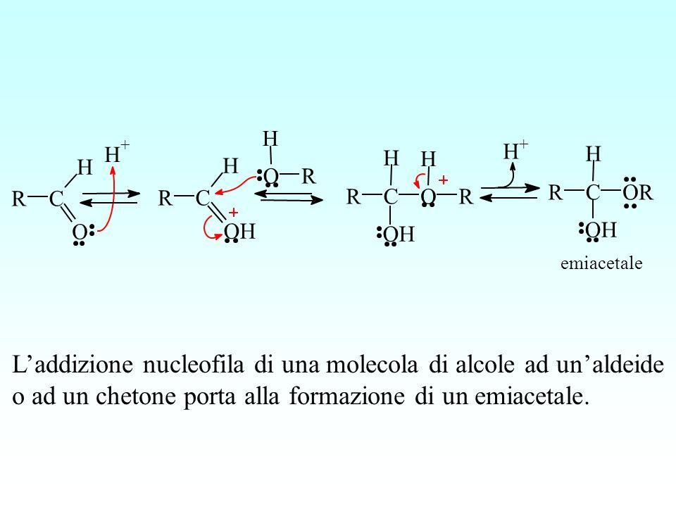 RC H O RC H OH RC H OH OR H H + O H R H + RC H OH OR emiacetale Laddizione nucleofila di una molecola di alcole ad unaldeide o ad un chetone porta all