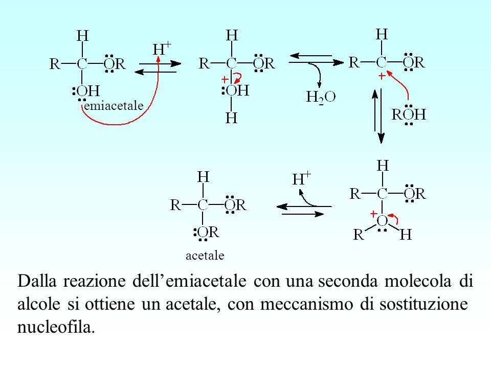 Dalla reazione dellemiacetale con una seconda molecola di alcole si ottiene un acetale, con meccanismo di sostituzione nucleofila. emiacetale acetale