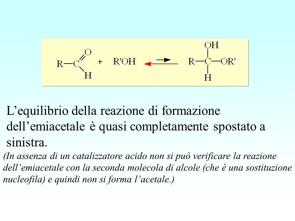 Lequilibrio della reazione di formazione dellemiacetale è quasi completamente spostato a sinistra. (In assenza di un catalizzatore acido non si può ve