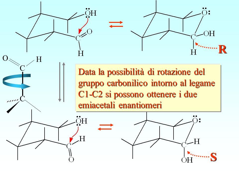 Data la possibilità di rotazione del gruppo carbonilico intorno al legame C1-C2 si possono ottenere i due emiacetali enantiomeri S R C H O C
