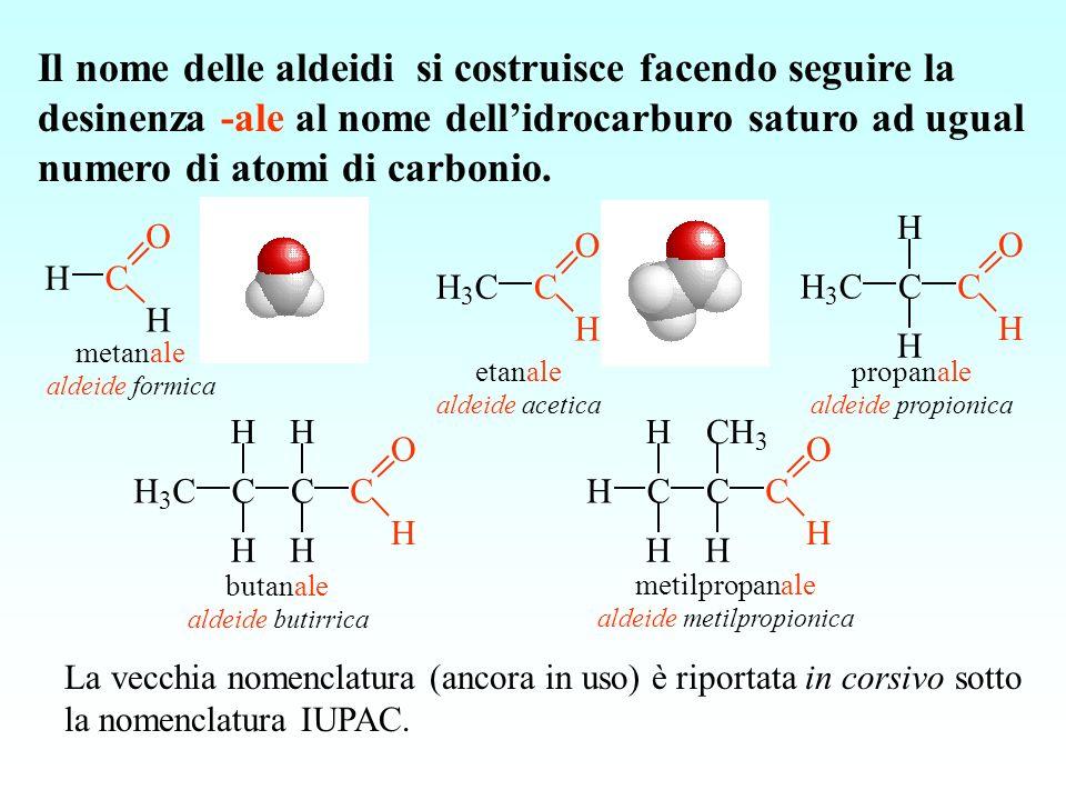 C O H H metanale aldeide formica C O H H 3 C etanale aldeide acetica C O H CH 3 C H H propanale aldeide propionica La vecchia nomenclatura (ancora in