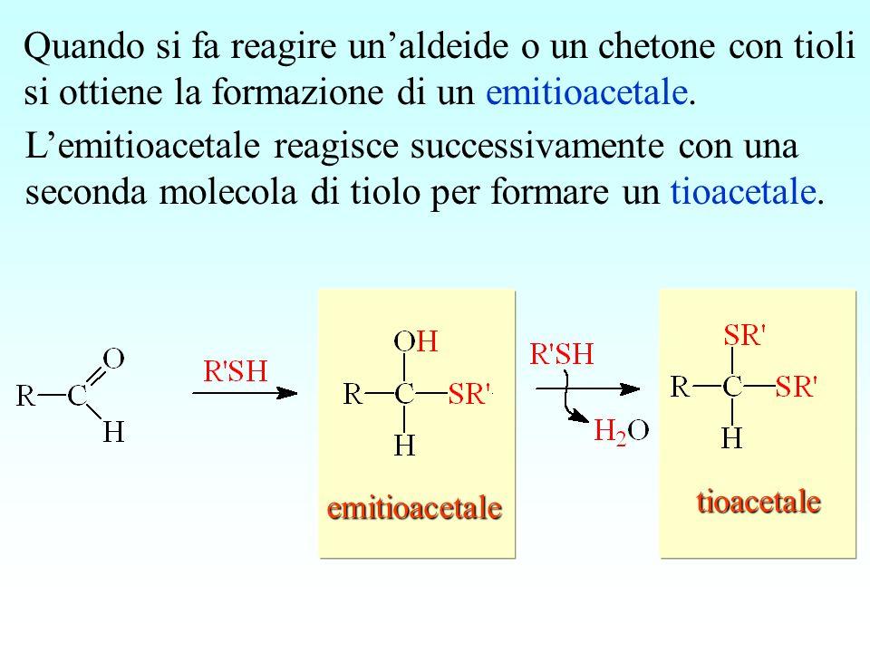 emitioacetale tioacetale Quando si fa reagire unaldeide o un chetone con tioli si ottiene la formazione di un emitioacetale. Lemitioacetale reagisce s