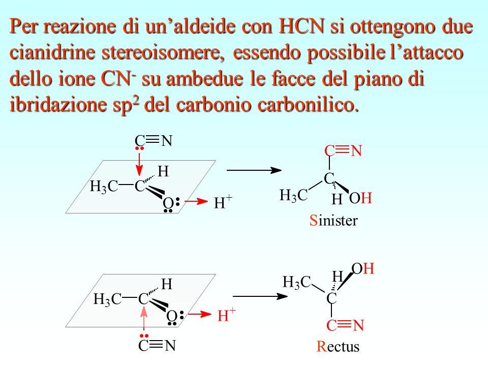 H H 3 CC O CN H + H + CN H H 3 CC O H OH NC C H 3 C Sinister OH NC C H 3 C H Rectus Per reazione di unaldeide con HCN si ottengono due cianidrine ster