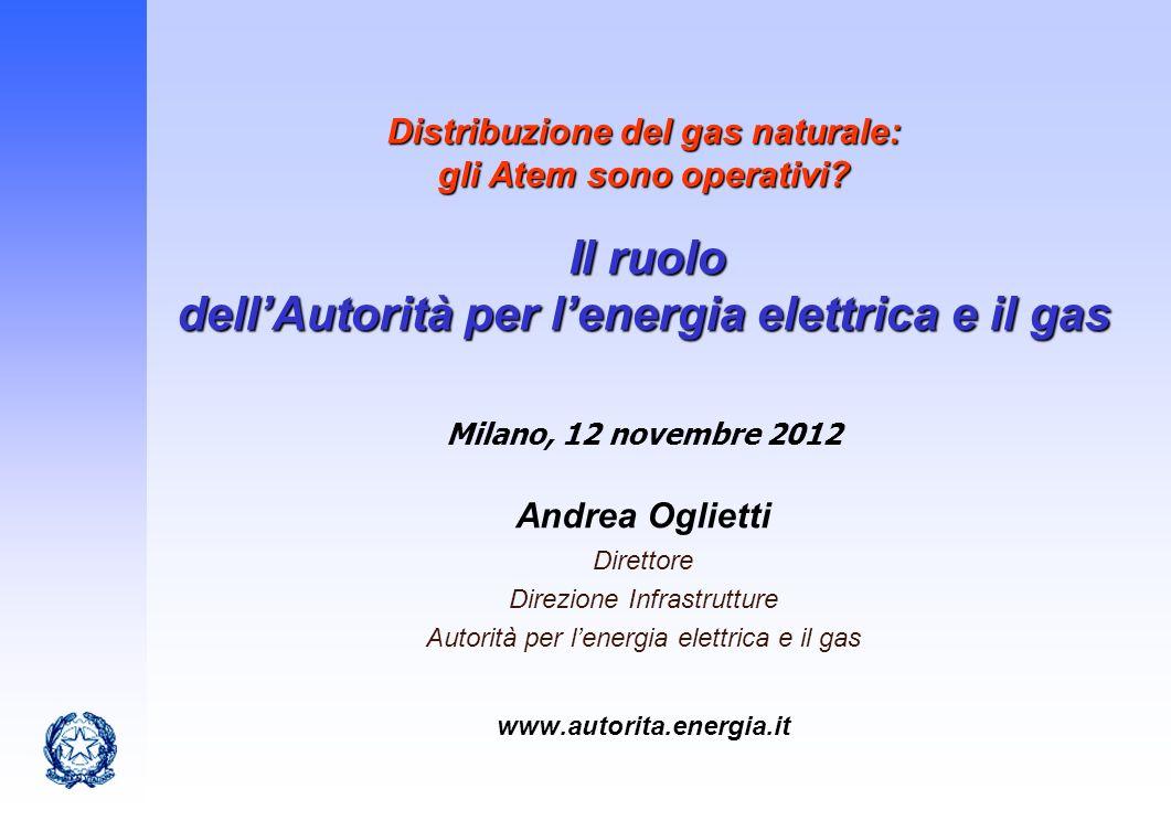 Distribuzione del gas naturale: gli Atem sono operativi? Il ruolo dellAutorità per lenergia elettrica e il gas Andrea Oglietti Direttore Direzione Inf