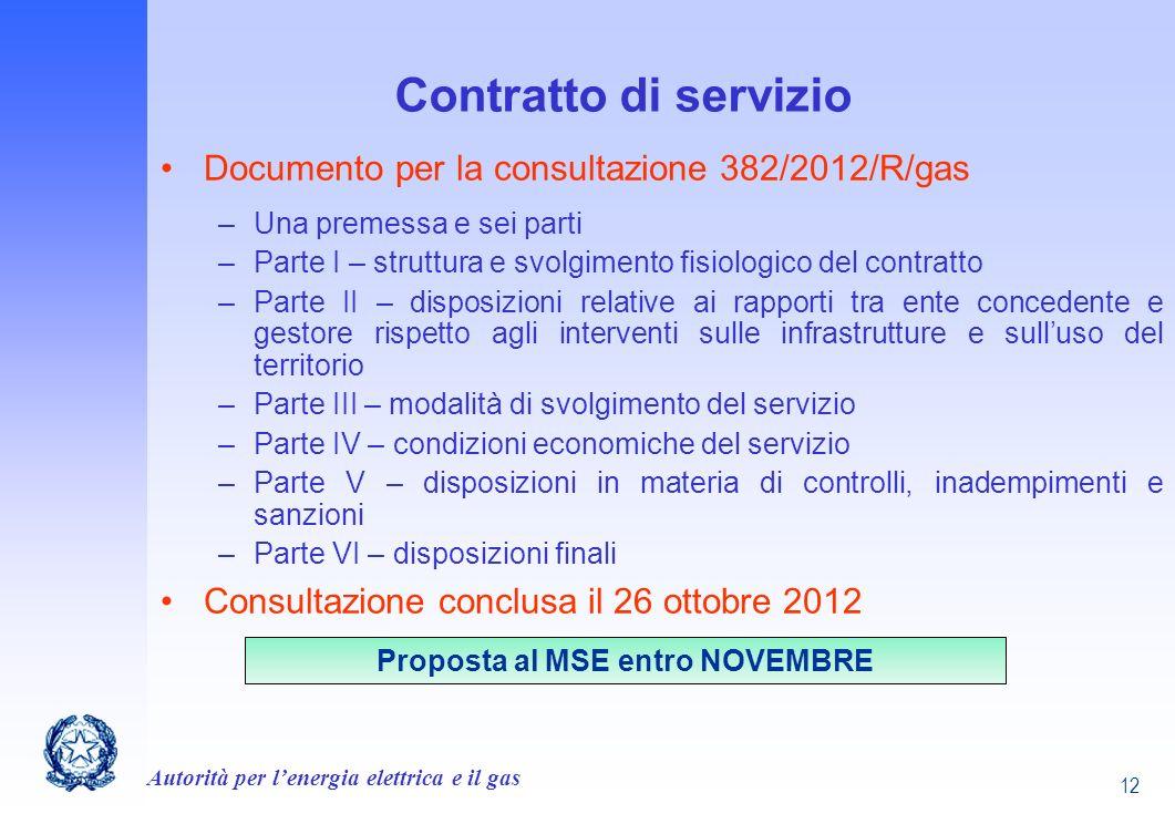 Autorità per lenergia elettrica e il gas 12 Contratto di servizio Documento per la consultazione 382/2012/R/gas –Una premessa e sei parti –Parte I – s