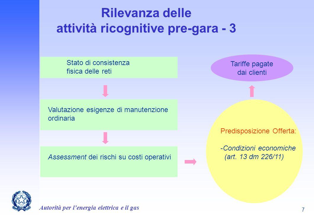 Autorità per lenergia elettrica e il gas 7 Rilevanza delle attività ricognitive pre-gara - 3 Stato di consistenza fisica delle reti Valutazione esigen