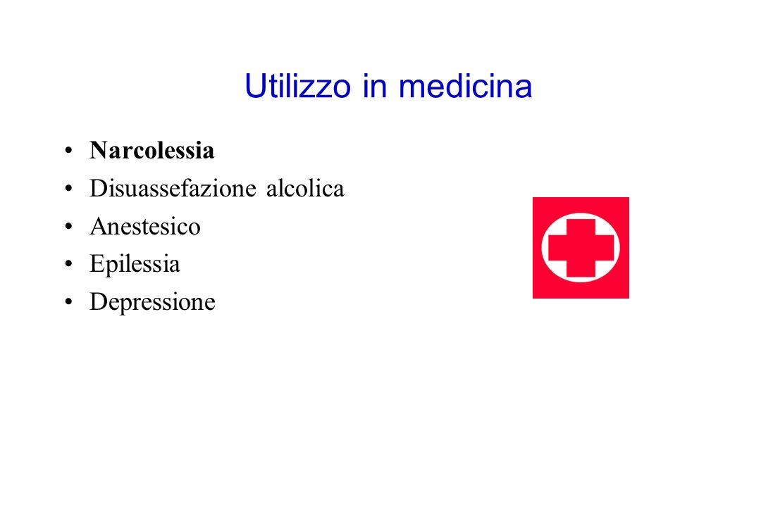 Utilizzo in medicina Narcolessia Disuassefazione alcolica Anestesico Epilessia Depressione
