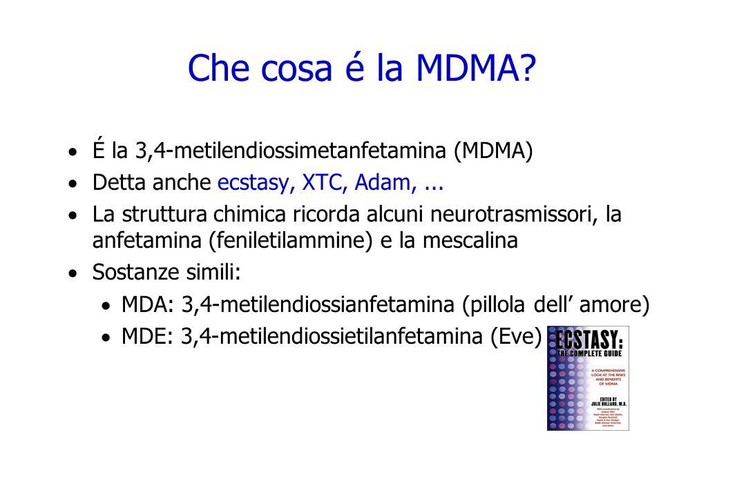 Che cosa é la MDMA? É la 3,4-metilendiossimetanfetamina (MDMA) Detta anche ecstasy, XTC, Adam,... La struttura chimica ricorda alcuni neurotrasmissori