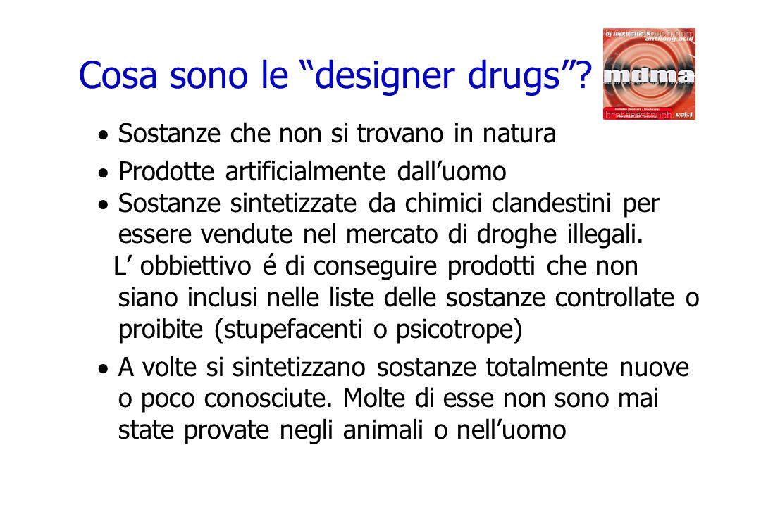 Cosa sono le designer drugs? Sostanze che non si trovano in natura Prodotte artificialmente dalluomo Sostanze sintetizzate da chimici clandestini per