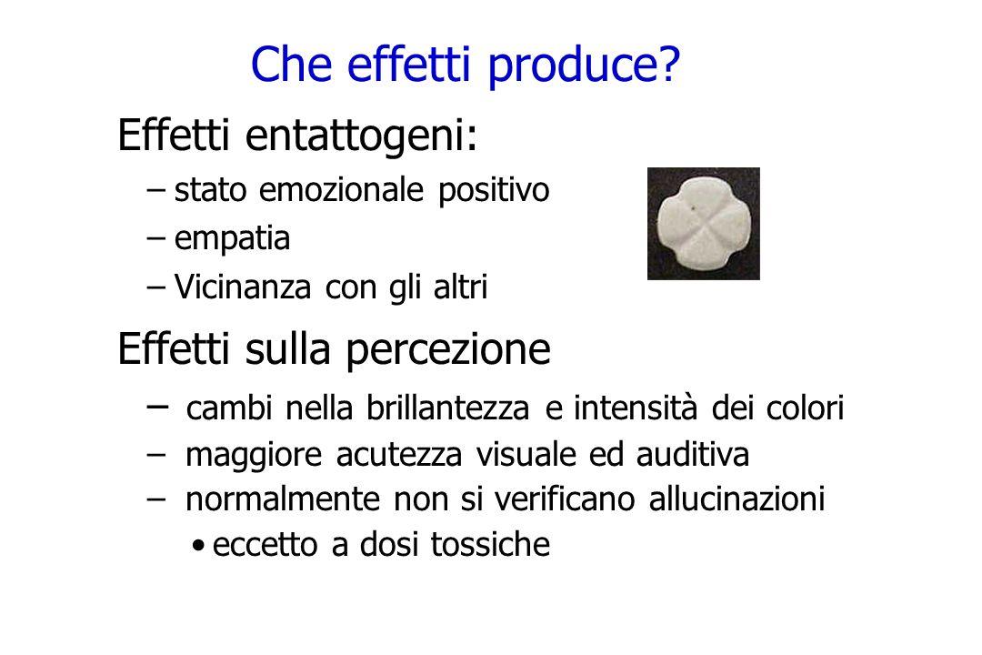 Che effetti produce? Effetti entattogeni: –stato emozionale positivo –empatia –Vicinanza con gli altri Effetti sulla percezione – cambi nella brillant