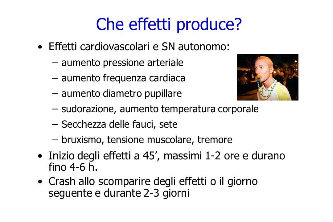Che effetti produce? Effetti cardiovascolari e SN autonomo: –aumento pressione arteriale –aumento frequenza cardiaca –aumento diametro pupillare –sudo