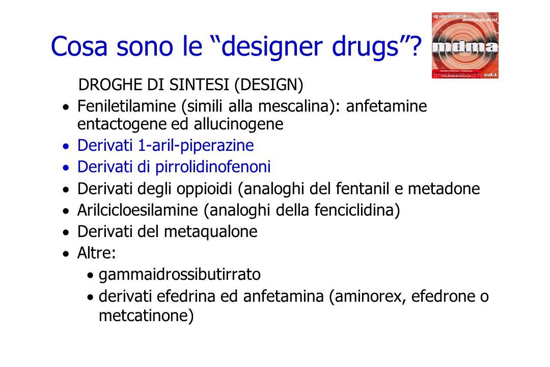 DROGHE DI SINTESI (DESIGN) Feniletilamine (simili alla mescalina): anfetamine entactogene ed allucinogene Derivati 1-aril-piperazine Derivati di pirro