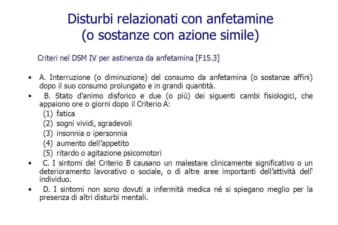Disturbi relazionati con anfetamine (o sostanze con azione simile) Criteri nel DSM IV per astinenza da anfetamina [F15.3] A. Interruzione (o diminuzio