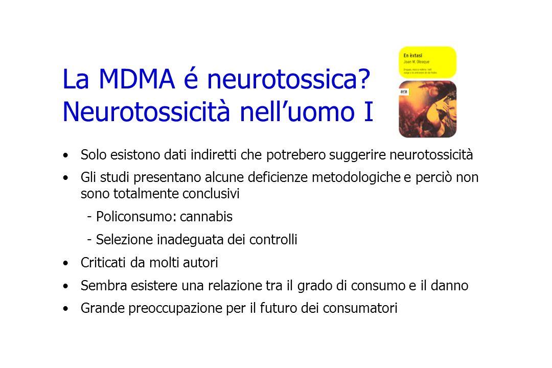 La MDMA é neurotossica? Neurotossicità nelluomo I Solo esistono dati indiretti che potrebero suggerire neurotossicità Gli studi presentano alcune defi