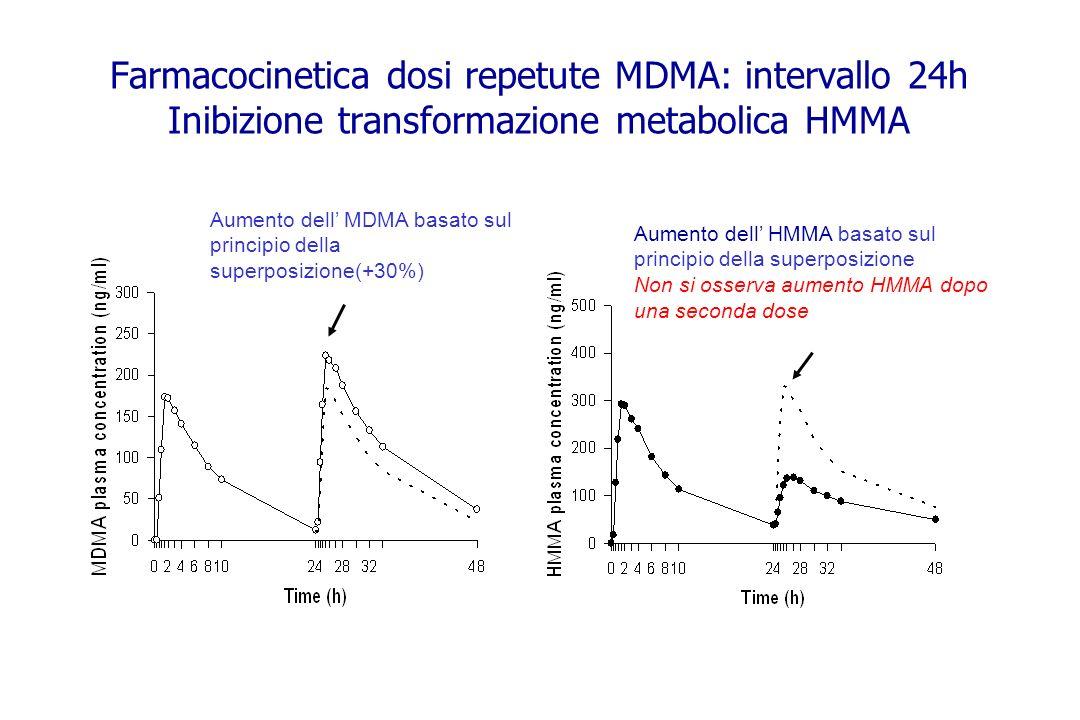 Farmacocinetica dosi repetute MDMA: intervallo 24h Inibizione transformazione metabolica HMMA Aumento dell MDMA basato sul principio della superposizi