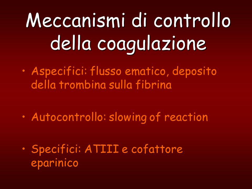 Meccanismi di controllo della coagulazione Aspecifici: flusso ematico, deposito della trombina sulla fibrina Autocontrollo: slowing of reaction Specif