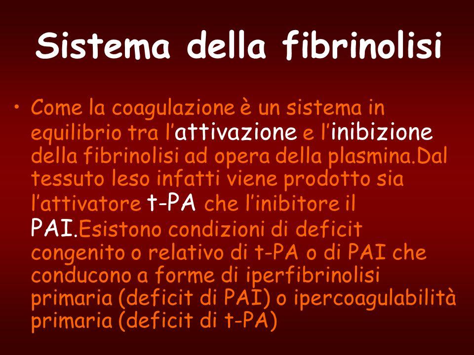 Sistema della fibrinolisi Come la coagulazione è un sistema in equilibrio tra l attivazione e l inibizione della fibrinolisi ad opera della plasmina.D