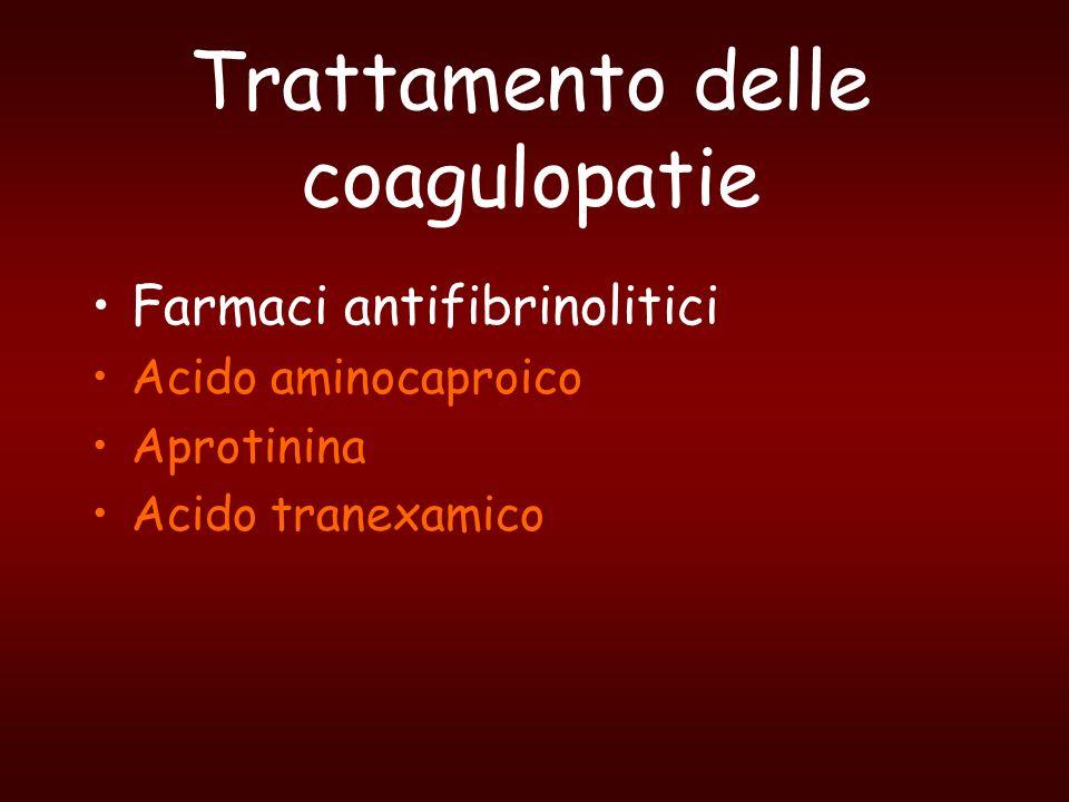 Trattamento delle coagulopatie Farmaci antifibrinolitici Acido aminocaproico Aprotinina Acido tranexamico