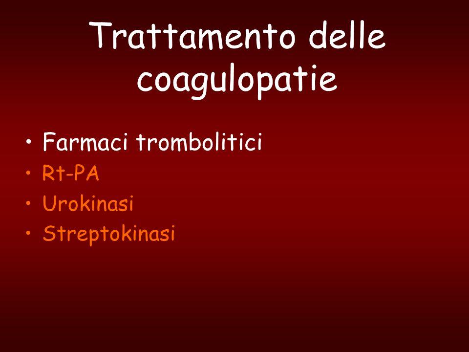 Trattamento delle coagulopatie Farmaci trombolitici Rt-PA Urokinasi Streptokinasi