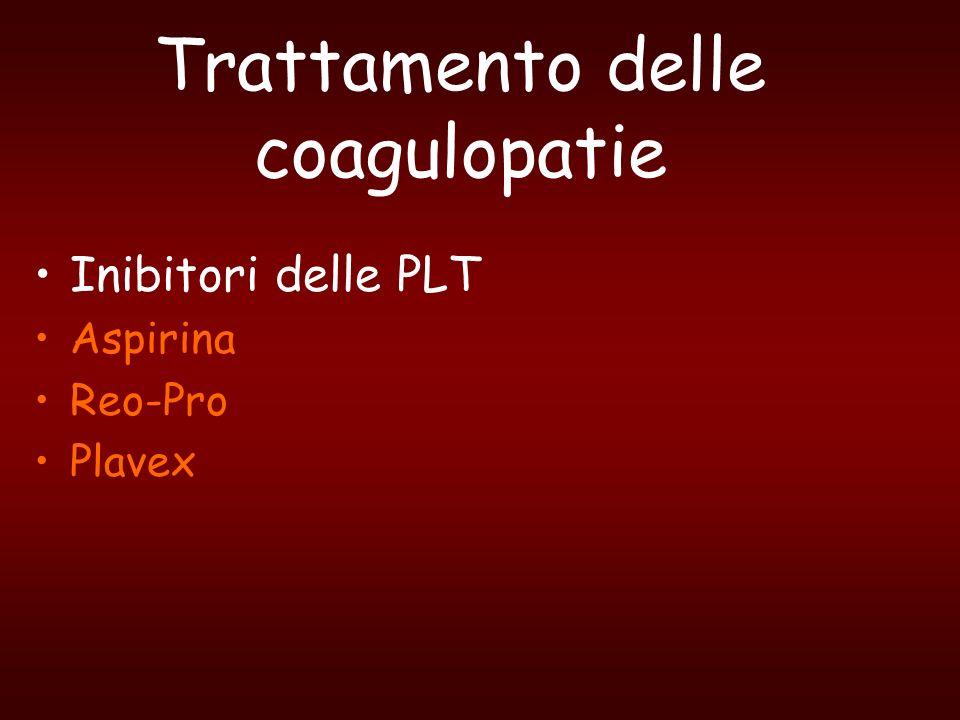 Trattamento delle coagulopatie Inibitori delle PLT Aspirina Reo-Pro Plavex