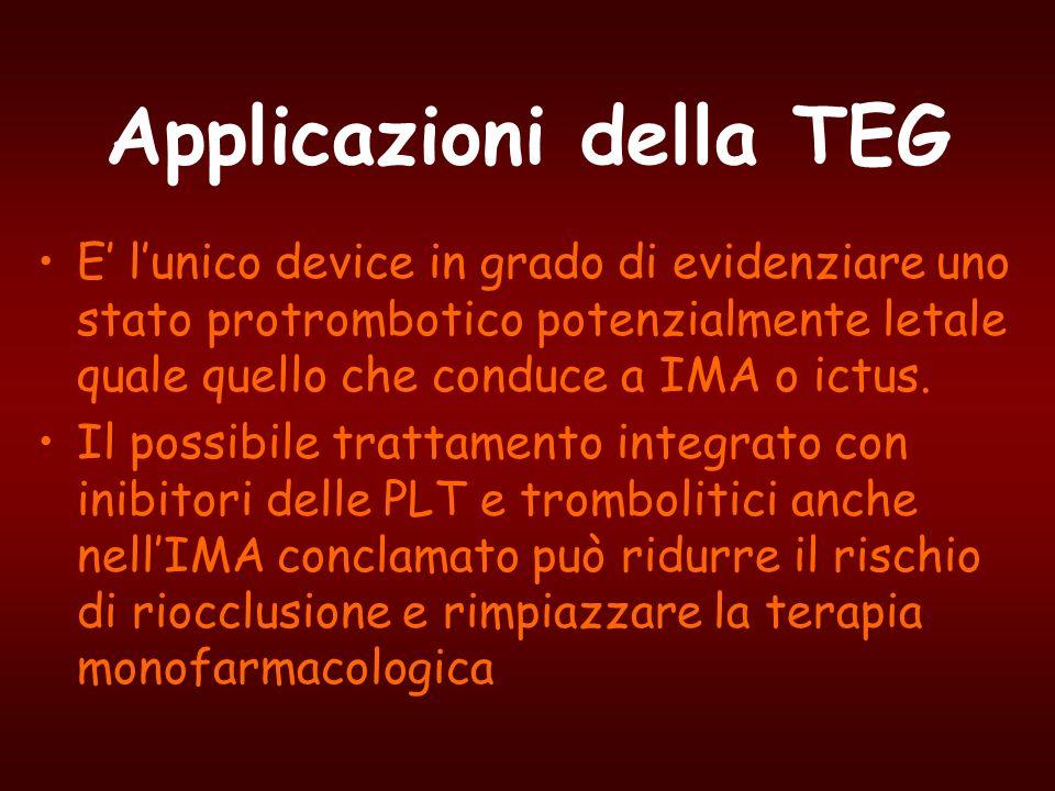 Applicazioni della TEG E lunico device in grado di evidenziare uno stato protrombotico potenzialmente letale quale quello che conduce a IMA o ictus. I