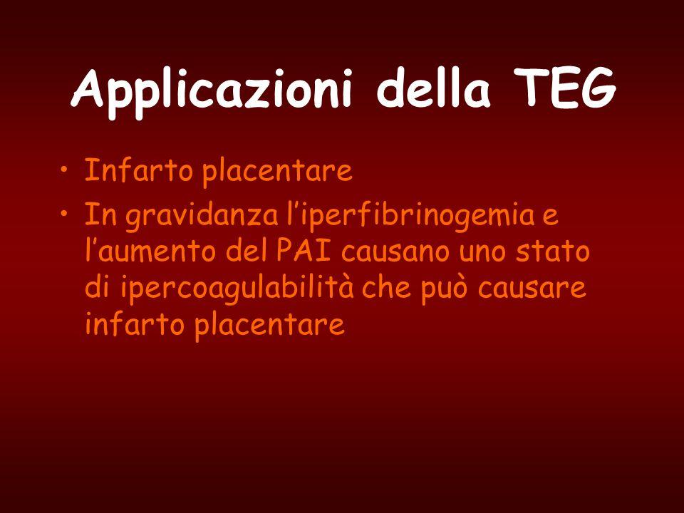 Applicazioni della TEG Infarto placentare In gravidanza liperfibrinogemia e laumento del PAI causano uno stato di ipercoagulabilità che può causare in