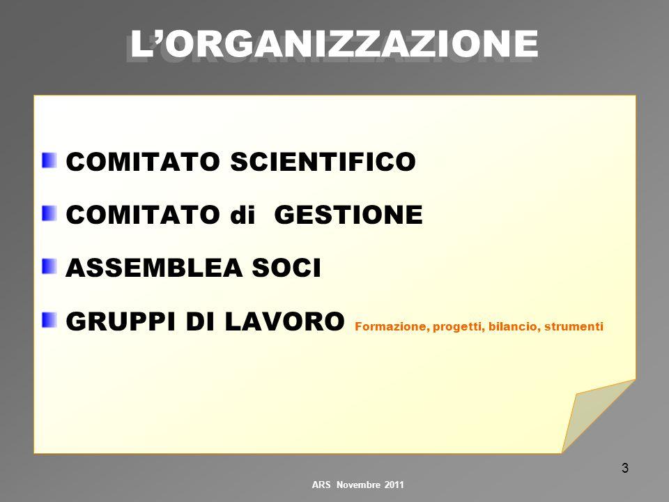 3 COMITATO SCIENTIFICO COMITATO di GESTIONE ASSEMBLEA SOCI GRUPPI DI LAVORO Formazione, progetti, bilancio, strumenti LORGANIZZAZIONE ARS Novembre 2011
