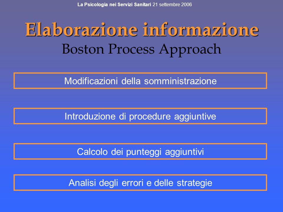 Elaborazione informazione Elaborazione informazione Boston Process Approach Modificazioni della somministrazione Introduzione di procedure aggiuntive