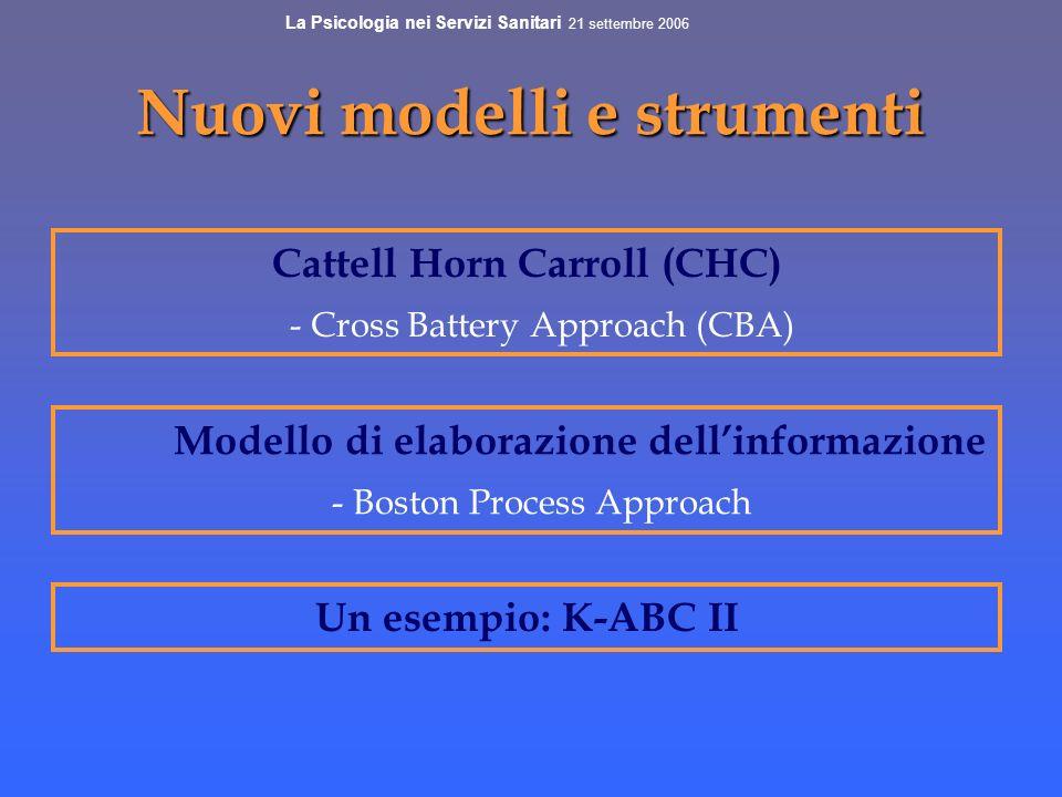 Nuovi modelli e strumenti Cattell Horn Carroll (CHC) - Cross Battery Approach (CBA) Modello di elaborazione dellinformazione - Boston Process Approach