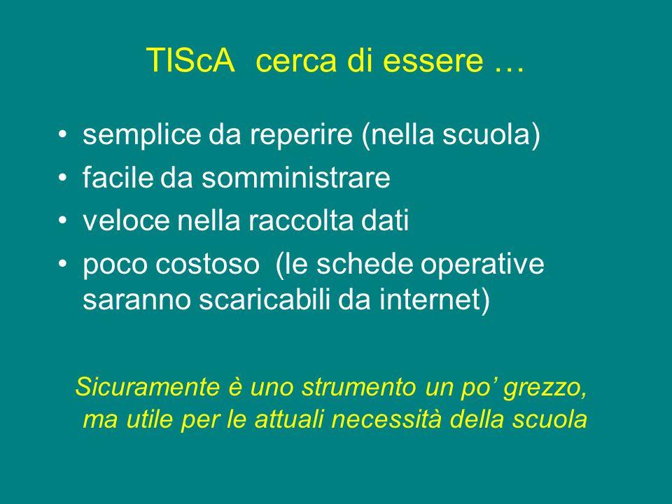 TIScA cerca di essere … semplice da reperire (nella scuola) facile da somministrare veloce nella raccolta dati poco costoso (le schede operative saran