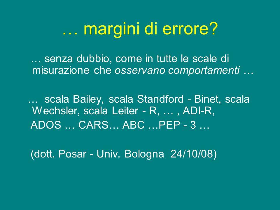 … margini di errore? … senza dubbio, come in tutte le scale di misurazione che osservano comportamenti … … scala Bailey, scala Standford - Binet, scal
