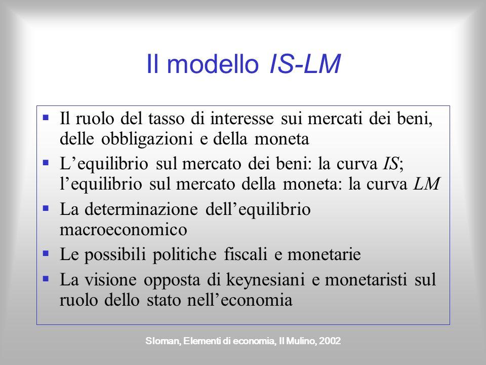 Sloman, Elementi di economia, Il Mulino, 2002 Il modello IS-LM Il ruolo del tasso di interesse sui mercati dei beni, delle obbligazioni e della moneta