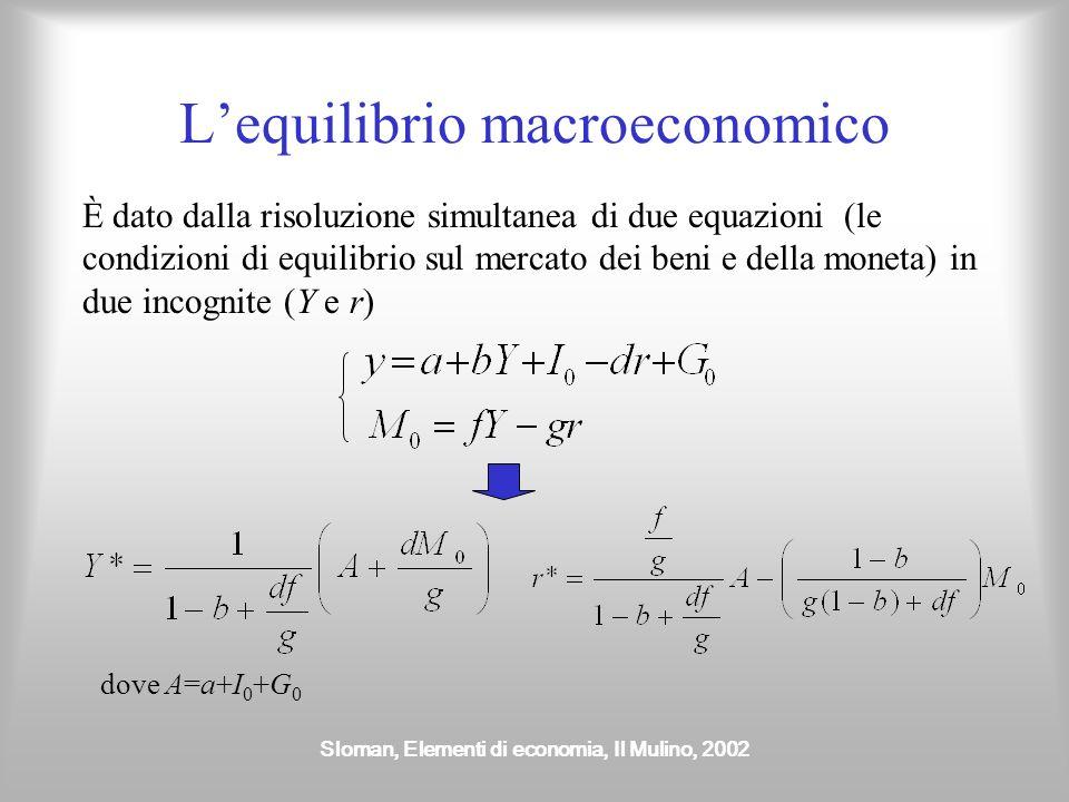 Sloman, Elementi di economia, Il Mulino, 2002 Lequilibrio macroeconomico È dato dalla risoluzione simultanea di due equazioni (le condizioni di equili
