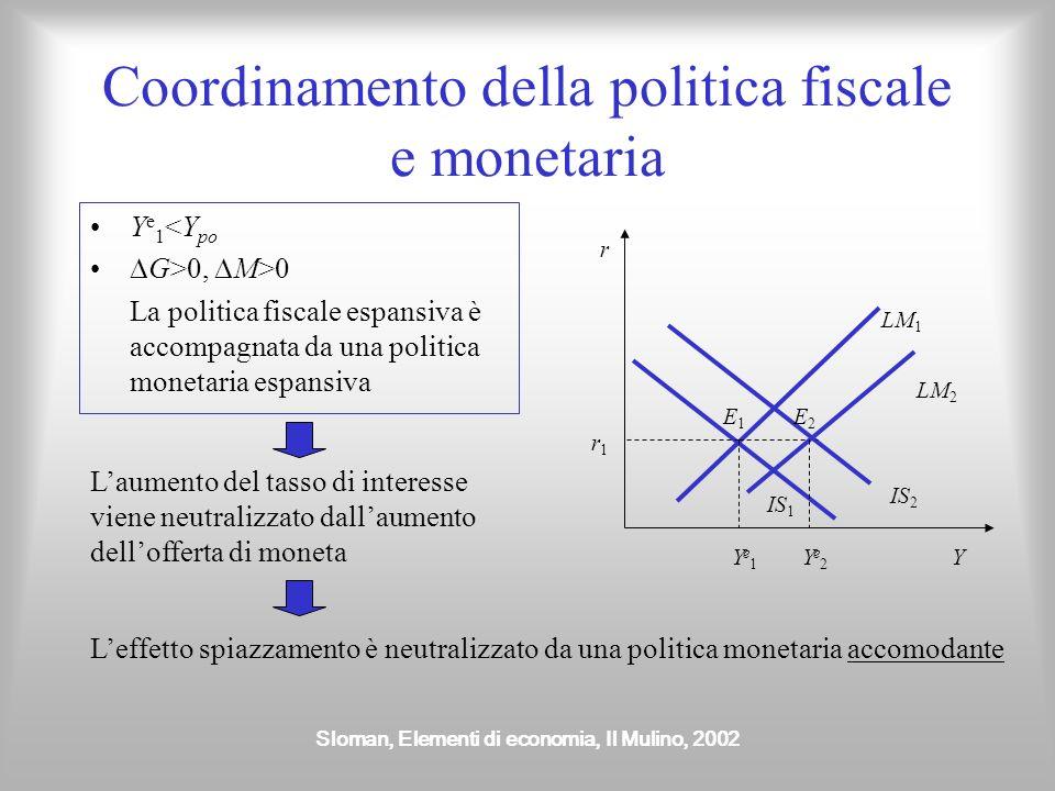 Sloman, Elementi di economia, Il Mulino, 2002 Coordinamento della politica fiscale e monetaria Y e 1 <Y po G>0, M>0 La politica fiscale espansiva è ac